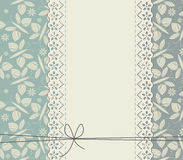 Stylish lace frame with flowers and butterflies Stock Photo