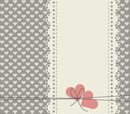 Stylish lace frame isolated on cute background with hearts Stock Image