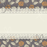 Stylish lace frame with roses Stock Photos