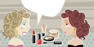 Stylish Ladies And Cosmetics. Stylish ladies with retro background and speech balloon Stock Image