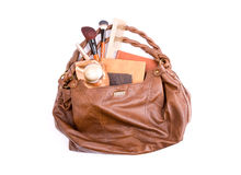 Stylish ladies' handbag with cosmetics Royalty Free Stock Photos