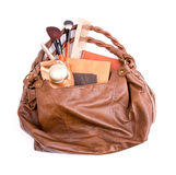 Stylish ladies' handbag with cosmetics Stock Photos