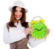 Stylish lady holding alarm clock Stock Image