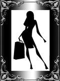 Stylish lady silhouette with bag Royalty Free Stock Image