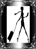 Stylish lady traveler framed Stock Images
