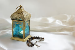 Stylish Lantern With Luxury Rosary Royalty Free Stock Photography