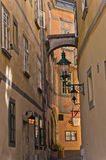 Stylish lantern on very old buildings near Swedish square in Vienna Stock Images