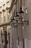 Stylish lanterns on 19th century neoclassic building, jewish quarter in Vienna. Austria Royalty Free Stock Photography
