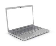 Stylish Laptop [Clip Path]. Metallic Laptop Computer with Clipping Path around Screen and Outline. Isolated on White Background. High Quality 3D Rendering Stock Photography