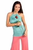 Stylish Latina With Rose stock photo