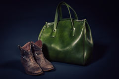 Stylish leather shoes and bag Stock Photos