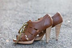 Stylish leather women shoes with laces Stock Images