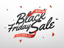 Stylish lettering of Black Friday Sale with upto 80% offer, adve. Rtising banner or poster design vector illustration