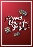 Stylish lettering of Happy New Year with gift boxes on glossy re. D background can be used as greeting card design vector illustration