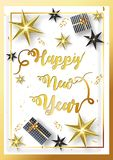 Stylish lettering Happy New Year with glowing stars and gift box. Es on white background. Can be used as greeting card design vector illustration