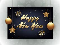 Stylish lettering of Happy New Year with stars and baubles hang. On blue background. Can be used as greeting card design royalty free illustration