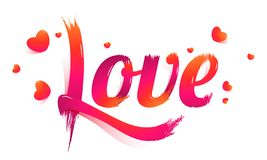 Stylish lettering of Love with tiny hearts on white background. stock illustration