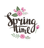 Stylish lettering Spring timewith flowers and leaves. Vector illustration. Royalty Free Stock Photography