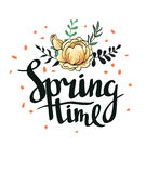 Stylish lettering Spring timewith flowers and leaves. Vector illustration. Spring background Royalty Free Stock Image