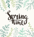 Stylish lettering Spring timewith plants. Vector illustration. royalty free illustration