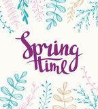 Stylish lettering Spring timewith plants. Vector illustration. stock illustration