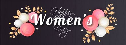 Stylish lettering of women`s day on glossy black background. royalty free illustration
