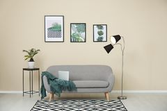 Stylish light room interior with comfortable sofa. Stylish light room interior with comfortable gray sofa royalty free stock images