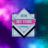 Stylish line insignias logo over a night sky Royalty Free Stock Images