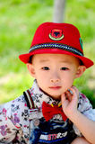 The stylish little boy waiting for his mother Royalty Free Stock Image