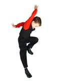 Stylish little dancer. Handsome stylish little boy dancing, isolated on white background Stock Photo