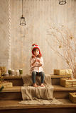 Stylish little girl in light pink dress Royalty Free Stock Images