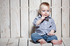 Stylish little kid. In bow tie royalty free stock image