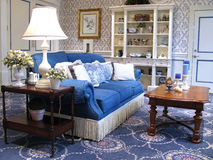 Stylish Living Room. Interior shot of a sitting or living room decorated in a southern style stock photography