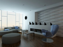 Stylish living room interior with couch and design furniture Royalty Free Stock Photos