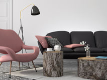 Stylish living room in pink and gray color stock illustration