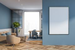 Stylish living room with poster royalty free stock photo
