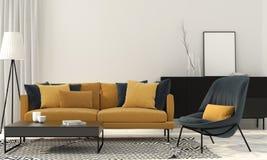 Stylish living room with a yellow sofa Stock Image