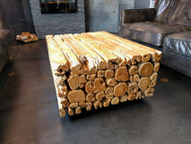 Log table in living room Royalty Free Stock Images