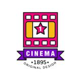 Stylish logo design template for cinema or movie. Film industry concept with retro pink filmstrip and purple ribbon. Stylish colorful creative logo design Royalty Free Stock Photos