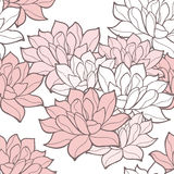Stylish lotus flowers seamless background. Floral vector pattern. Rose quartz tint ornament Royalty Free Stock Images