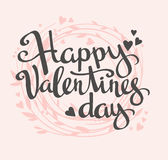 Stylish love card with floral wreath. Vector lettering Happy Valentine's day. Stock Photo