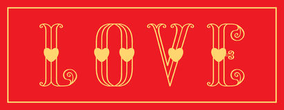 Stylish love card with red love and gold hearts on a red. Love greeting card with red love inscription and gold hearts on a red background. Luxury Elegant Happy Royalty Free Stock Image