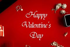 Stylish luxury accessories, happy valentine`s day text, greeting royalty free stock images