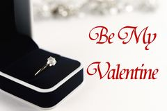 Stylish luxury ring, be my valentine text, greeting card concept royalty free stock photo
