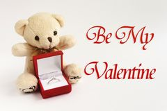 Stylish luxury ring and teddy bear,be my valentine text, greeti stock images