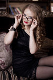 Stylish luxury woman in glasses Stock Photos