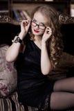 Stylish luxury woman in glasses Stock Photos