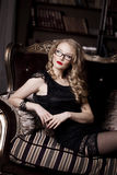 Stylish luxury woman in glasses Royalty Free Stock Photography