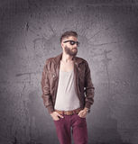 Stylish male with beard and sunglasses Stock Image