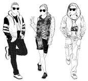Stylish male and female street fashion Royalty Free Stock Images